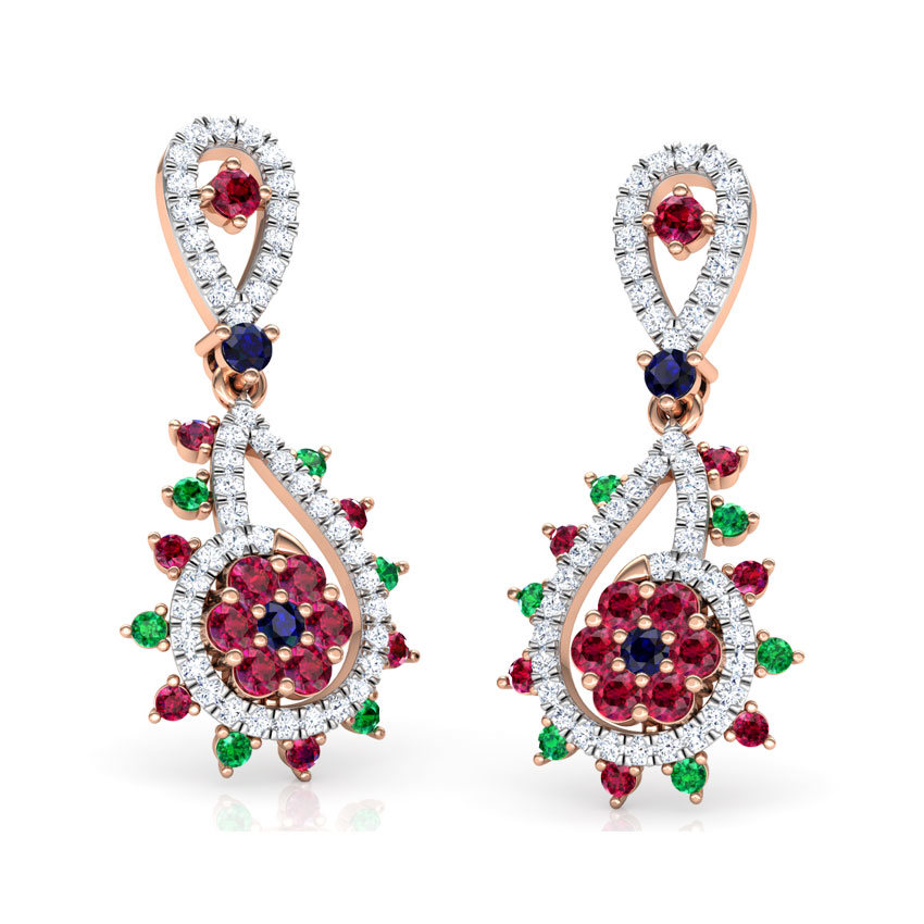 Diamond,Gemstone Earrings 18 Karat Rose Gold Pia Vibrant Gemstone Drop Earrings