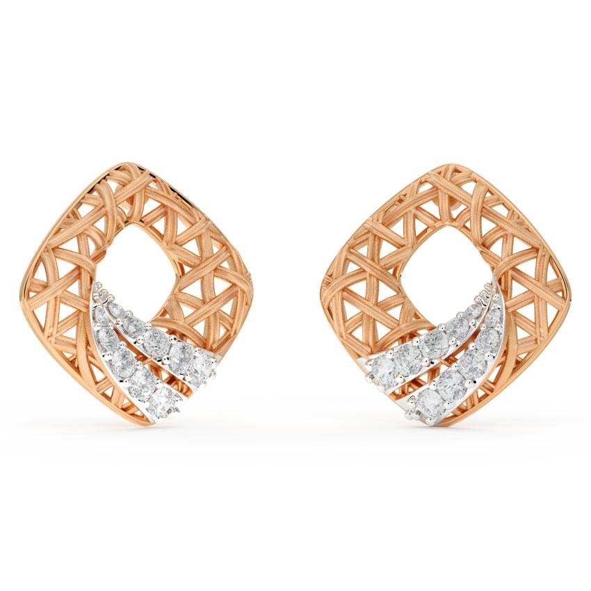 Diamond Earrings 18 Karat Rose Gold Stroke Interlaced Diamond Stud Earrings