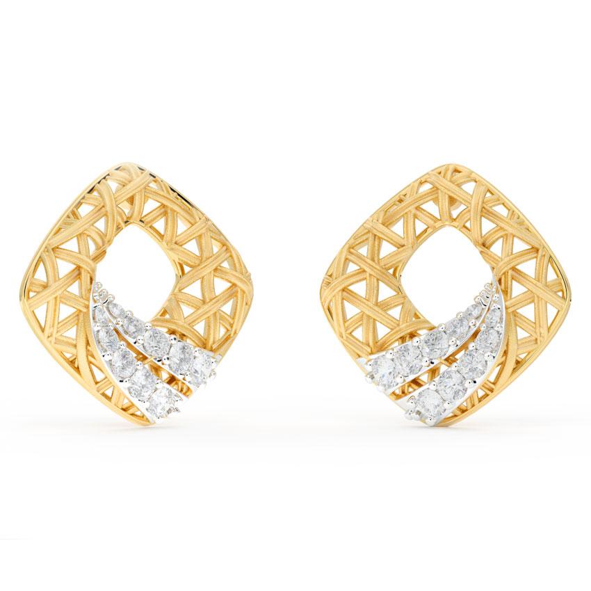 Diamond Earrings 18 Karat Yellow Gold Stroke Interlaced Diamond Stud Earrings