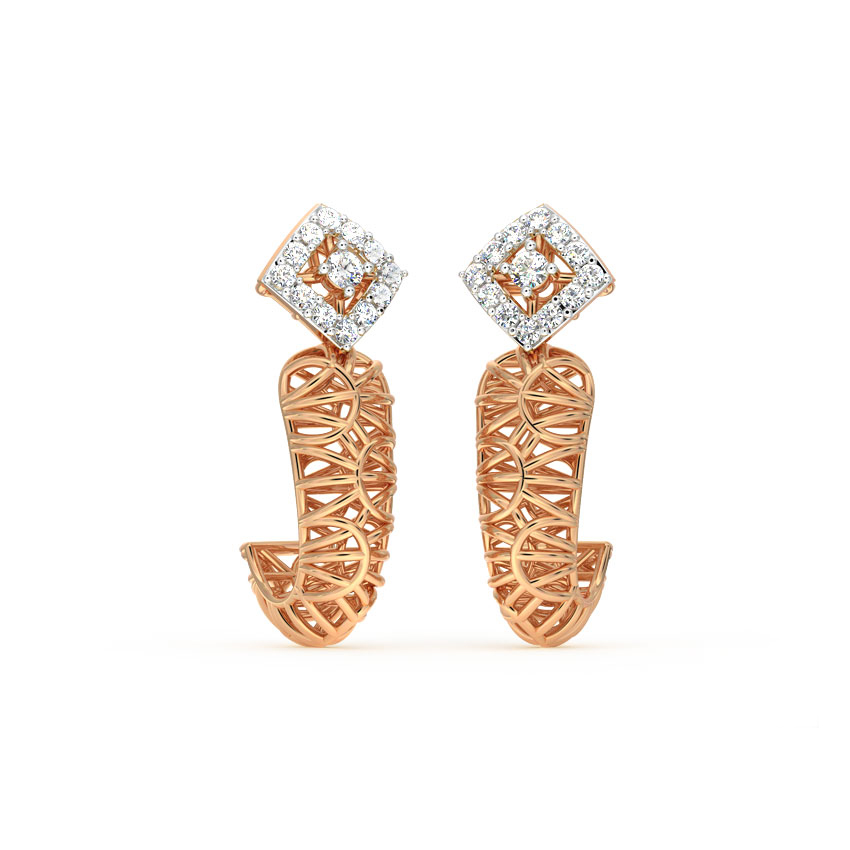 Diamond Earrings 18 Karat Rose Gold Quad Mesh Diamond Hoop Earrings