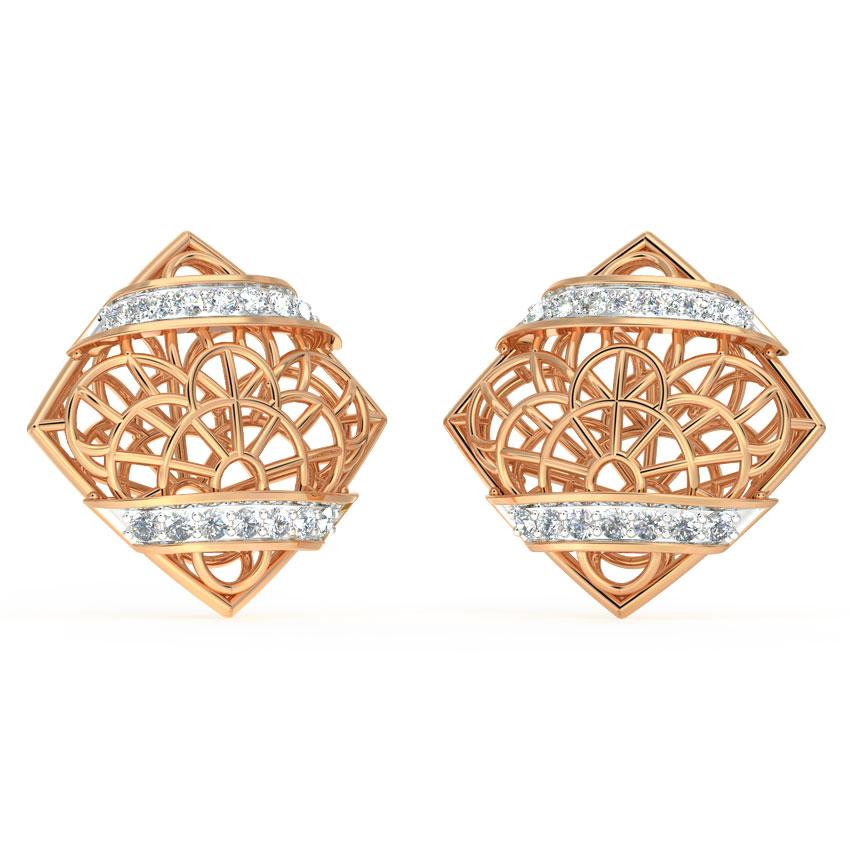 Diamond Earrings 18 Karat Rose Gold Intricate Mesh Diamond Stud Earrings