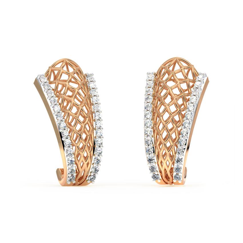 Diamond Earrings 18 Karat Rose Gold Tapered Mesh Diamond Hoop Earrings