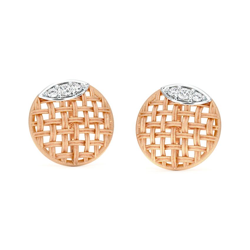 Diamond Earrings 18 Karat Rose Gold Orb Twill Diamond Stud Earrings