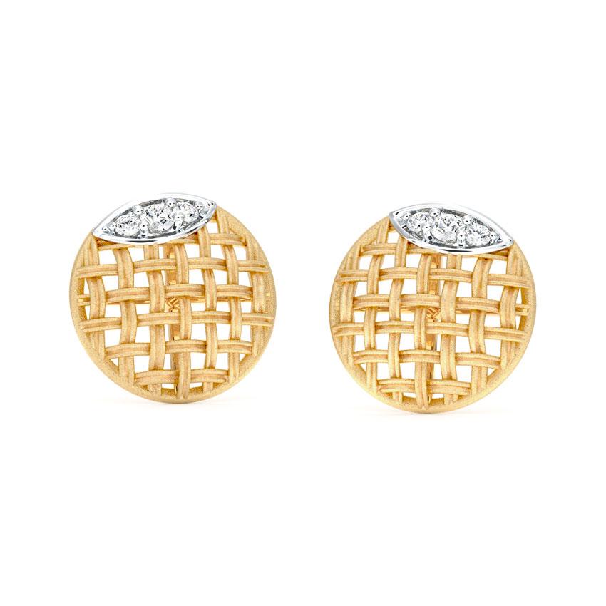 Diamond Earrings 14 Karat Yellow Gold Orb Twill Diamond Stud Earrings