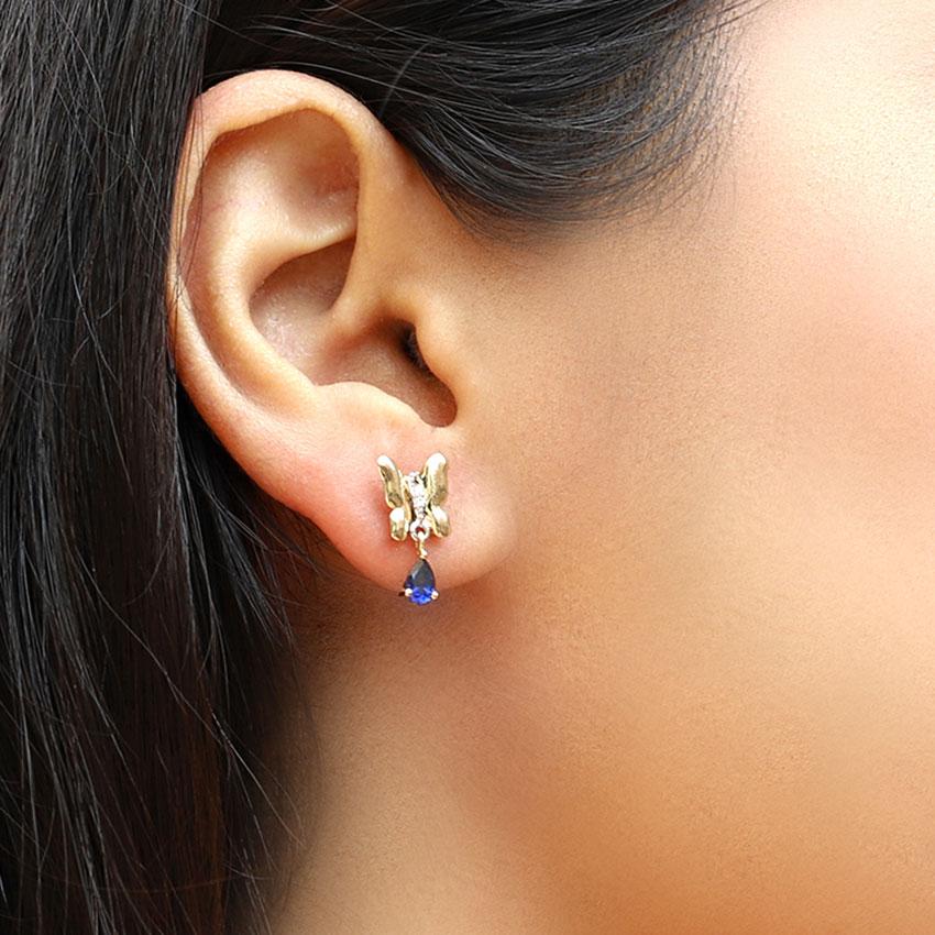 Diamond,Gemstone Earrings 14 Karat Yellow Gold Diya Butterfly Gemstone Drop Earrings