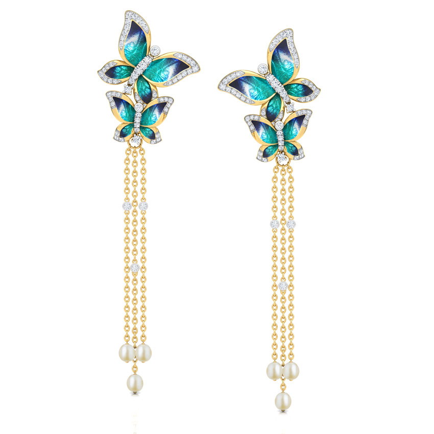 Majestic Blue Butterfly Drop Earrings