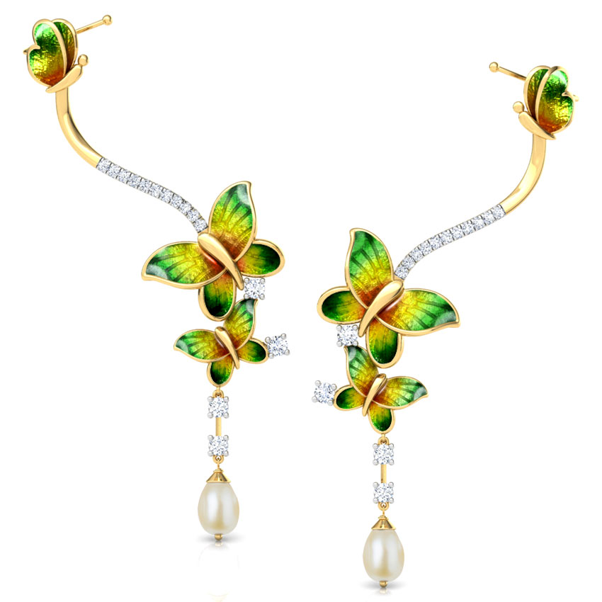 Intricate Green Butterfly Drop Earrings
