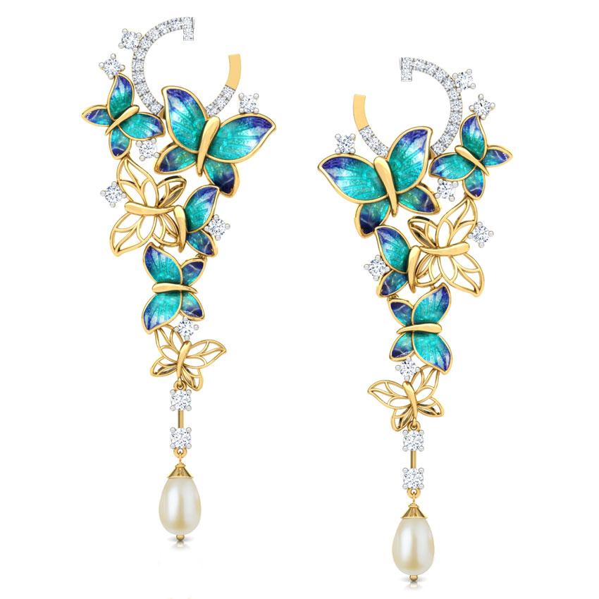 Diamond,Gemstone Earrings 18 Karat Yellow Gold Glorious Blue Butterfly Gemstone Drop Earrings