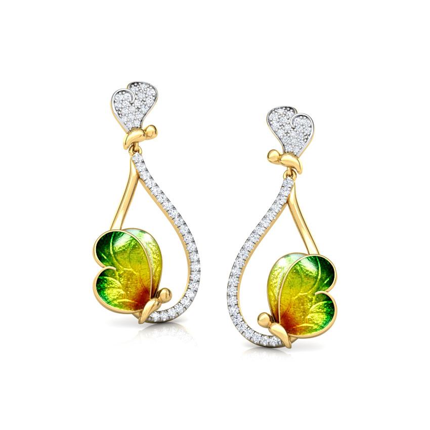 Opulent Green Butterfly Drop Earrings