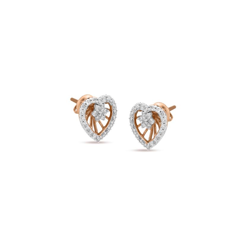 Diamond Earrings 18 Karat Rose Gold Soaring Heart Diamond Stud Earrings