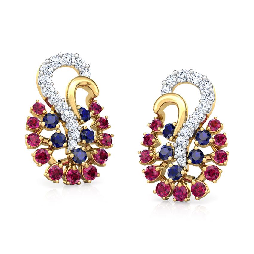 Diamond,Gemstone Earrings 18 Karat Yellow Gold Mishti Vibrant Gemstone Stud Earrings