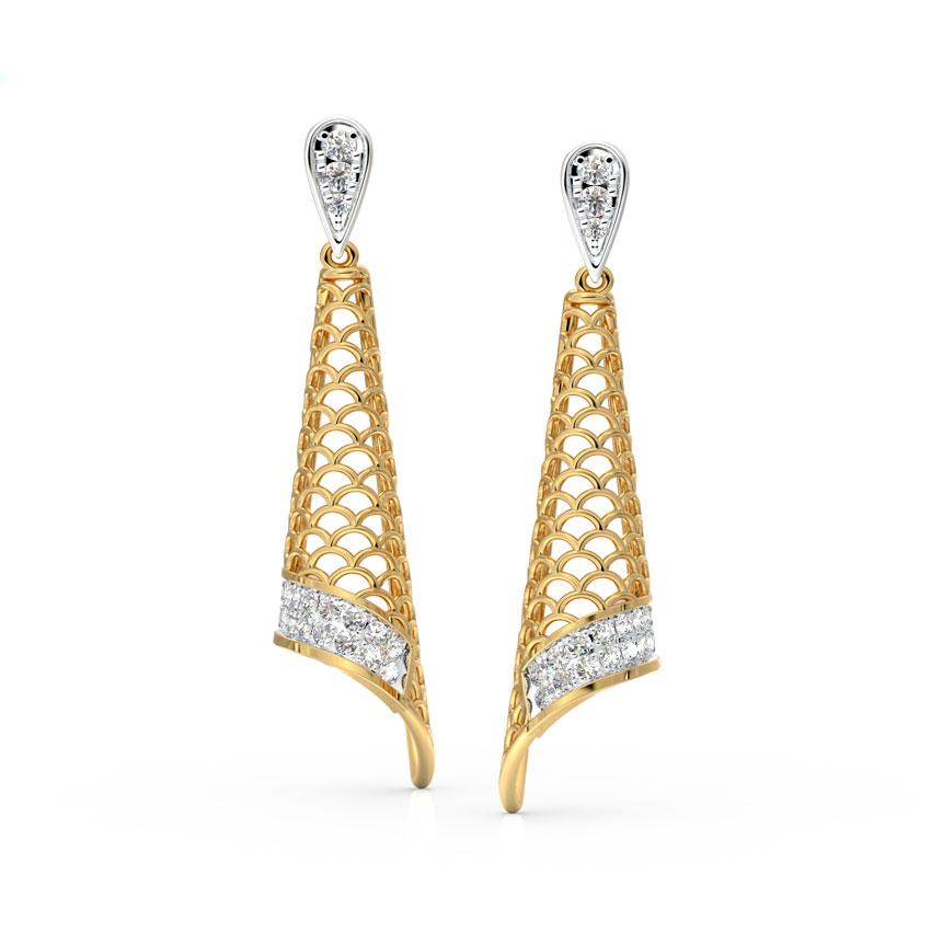 Diamond Earrings 14 Karat Yellow Gold Katy Cutout Diamond Drop Earrings