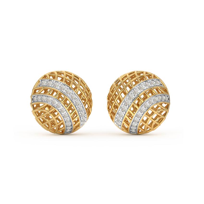 Checkered Mesh Stud Earrings