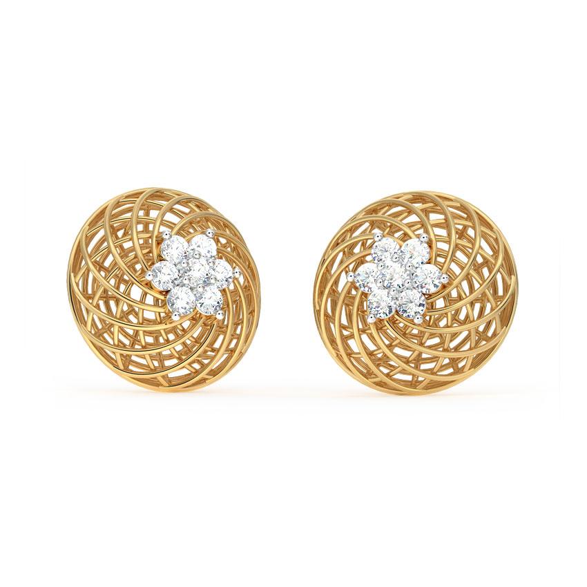 Diamond Earrings 18 Karat Yellow Gold Floret Mesh Diamond Stud Earrings
