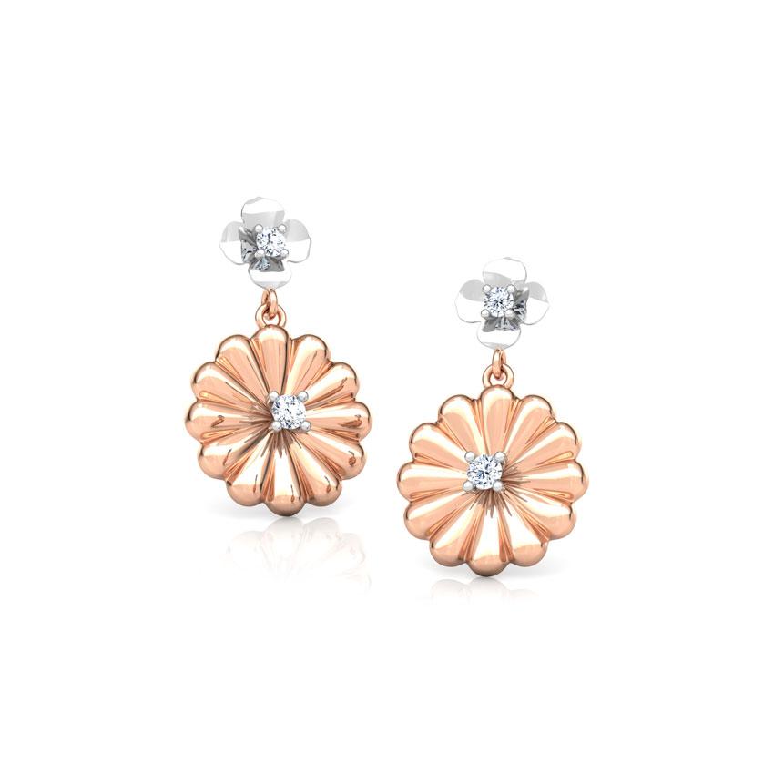 Diamond Earrings 14 Karat Two Tone Gold Tiya Bloom Diamond Drop Earrings