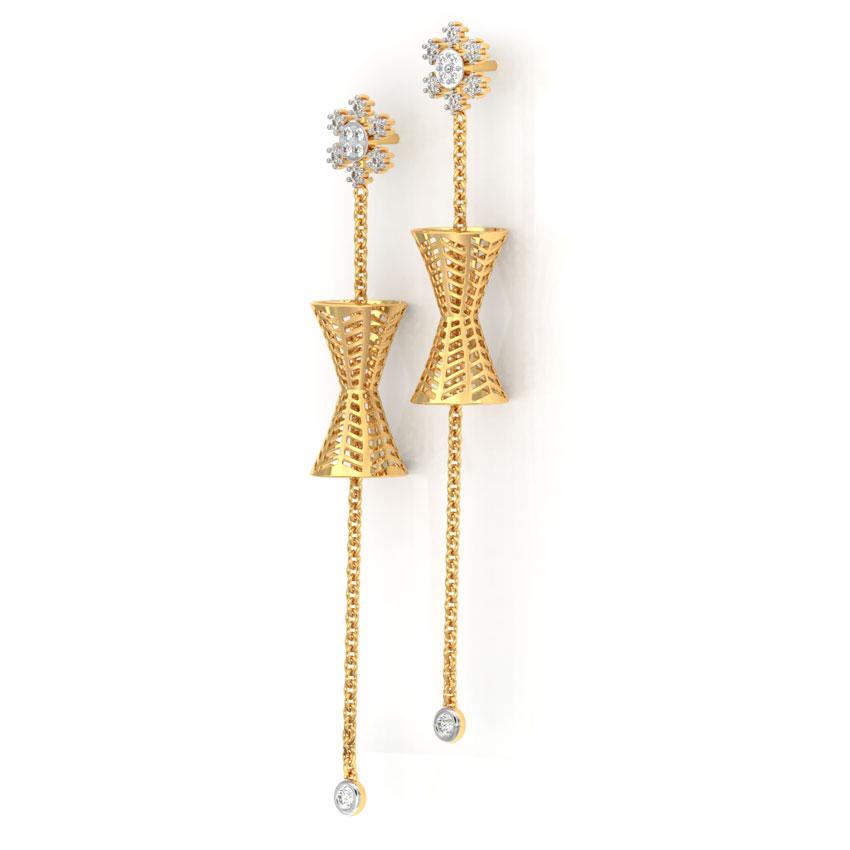 Diamond Earrings 18 Karat Yellow Gold Snowflake Cutout Diamond Drop Earrings