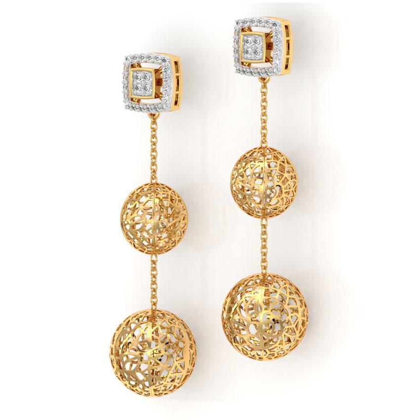 Diamond Earrings 18 Karat Yellow Gold Orb Cutout Diamond Drop Earrings