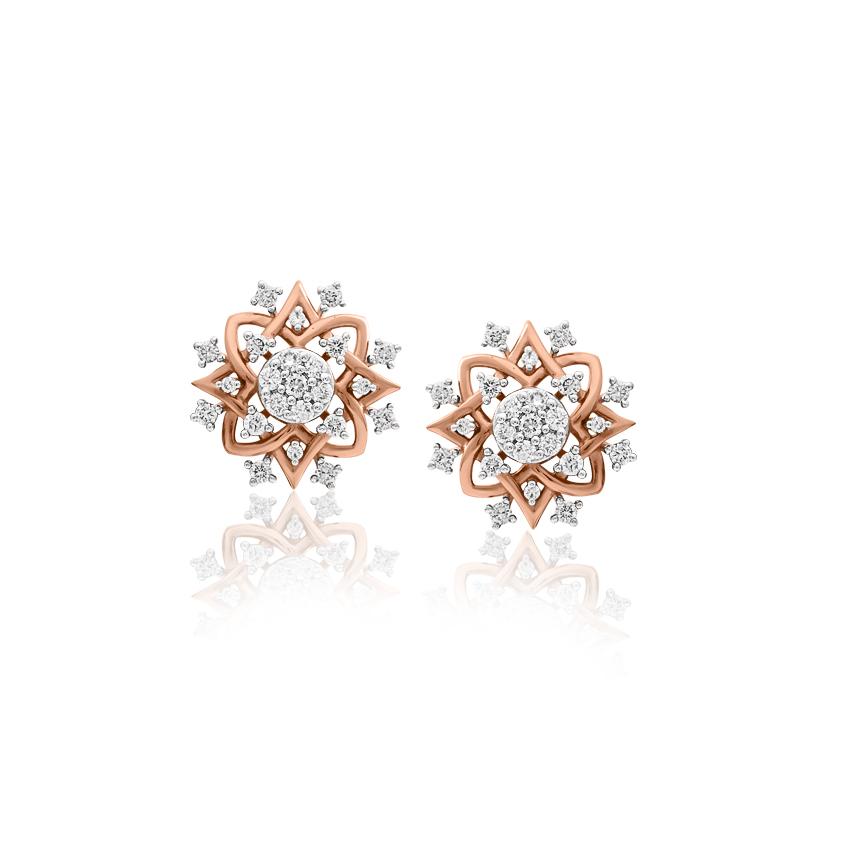 Diamond Earrings 18 Karat Rose Gold Scarlett Grand Diamond Stud Earrings