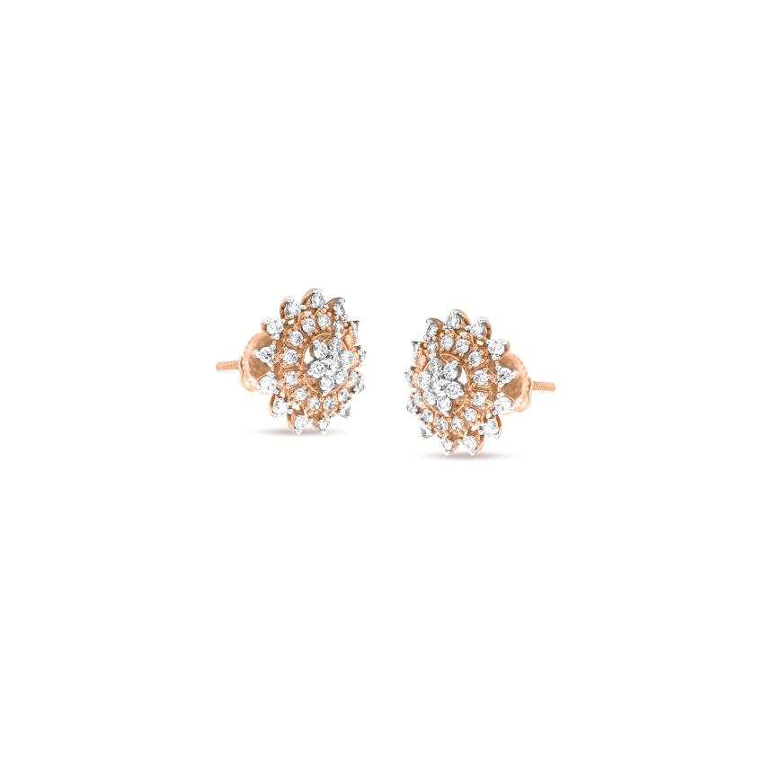 Diamond Earrings 18 Karat Rose Gold Dazzling Diamond Stud