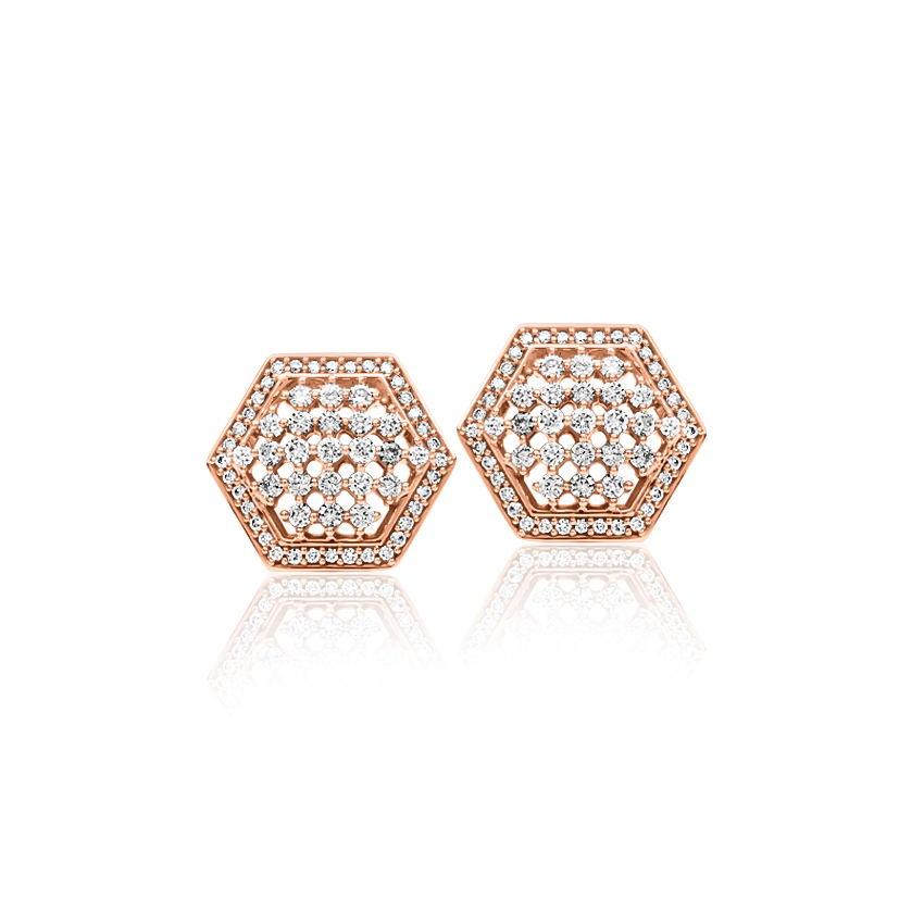 Diamond Earrings 18 Karat Rose Gold Zoe Grand Diamond Stud Earrings