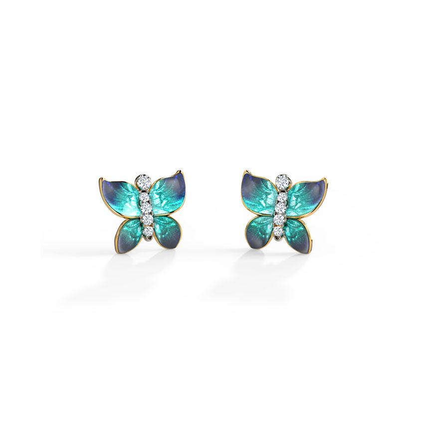 Hover Blue Butterfly Stud Earrings