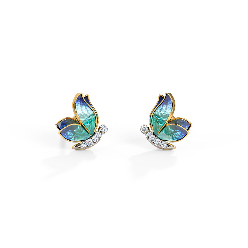Petite Blue Butterfly Stud Earrings