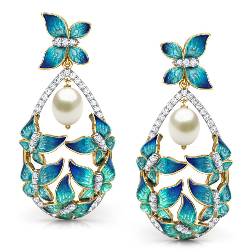 Elegant Blue Butterfly Drop Earrings