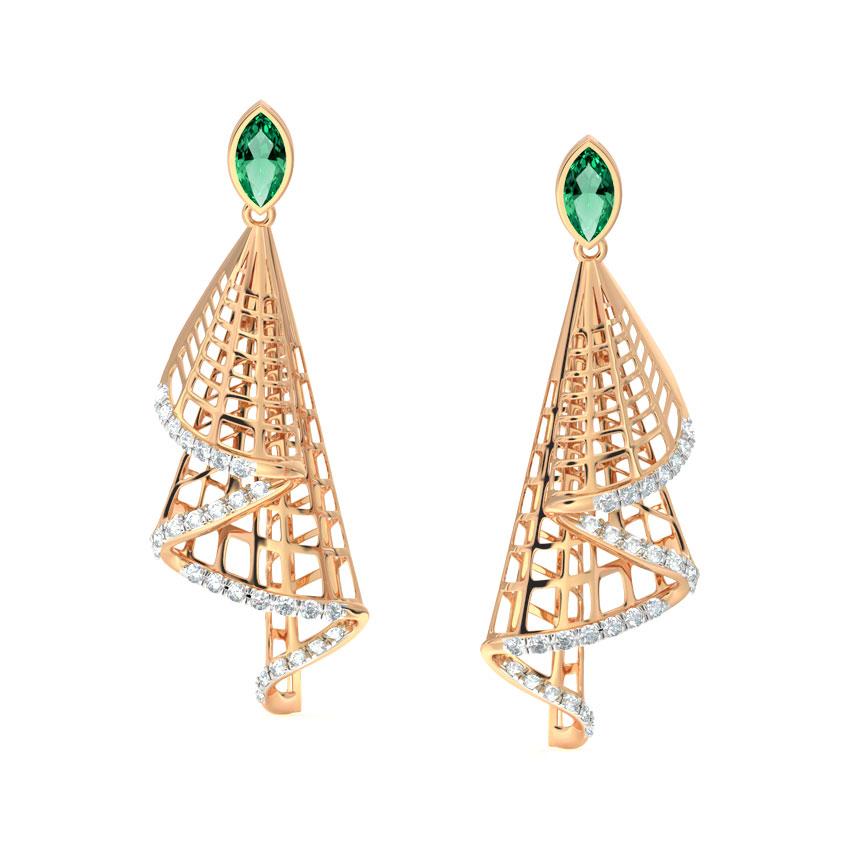 Diamond,Gemstone Earrings 18 Karat Rose Gold Rita Ruffle Drop Earrings