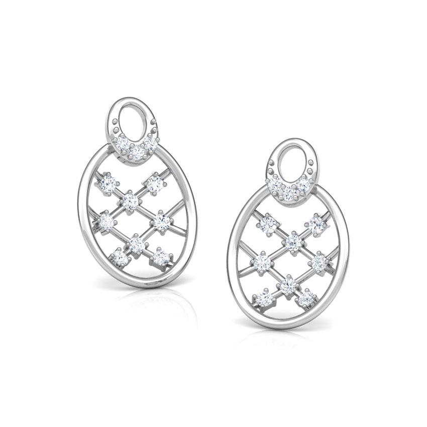 Diamond Earrings 18 Karat White Gold Lattice Diamond Stud Earrings