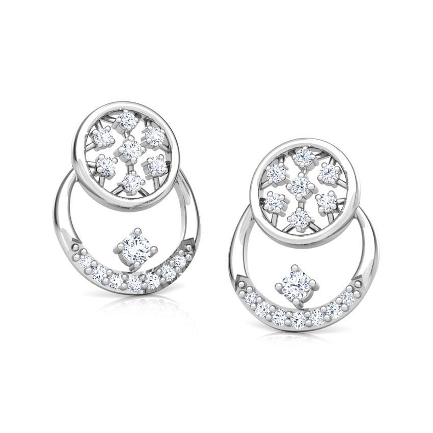 Diamond Earrings 14 Karat White Gold Overlay Cluster Diamond Stud Earrings
