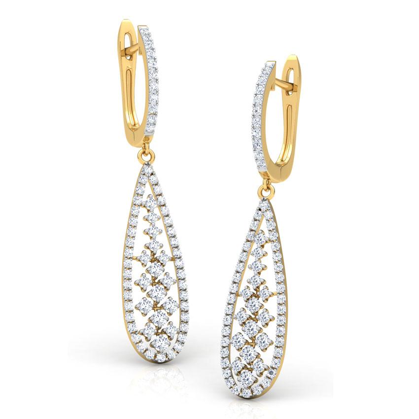 Diamond Earrings 14 Karat Yellow Gold Pear Lattice Diamond Drop Earrings