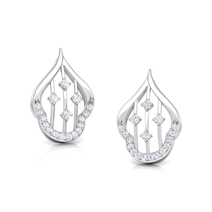 Diamond Earrings 18 Karat White Gold Contour Lattice Diamond Stud Earrings
