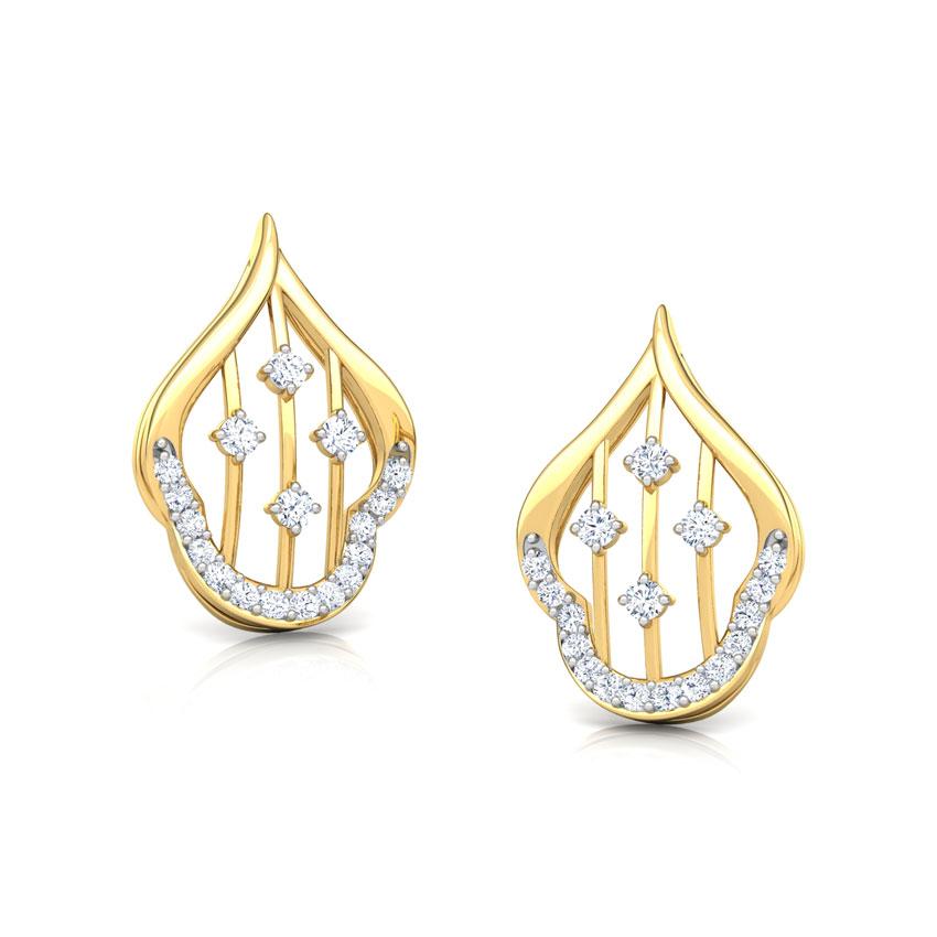 Diamond Earrings 18 Karat Yellow Gold Contour Lattice Diamond Stud Earrings