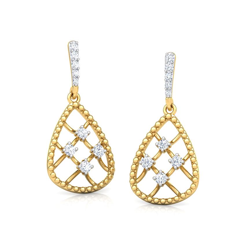 Diamond Earrings 18 Karat Yellow Gold Trigon Miligrain Diamond Drop Earrings