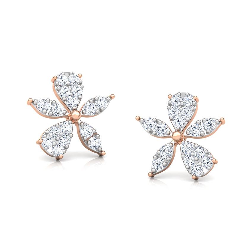Diamond Earrings 18 Karat Rose Gold Asymmetric Bloom Diamond Stud Earrings