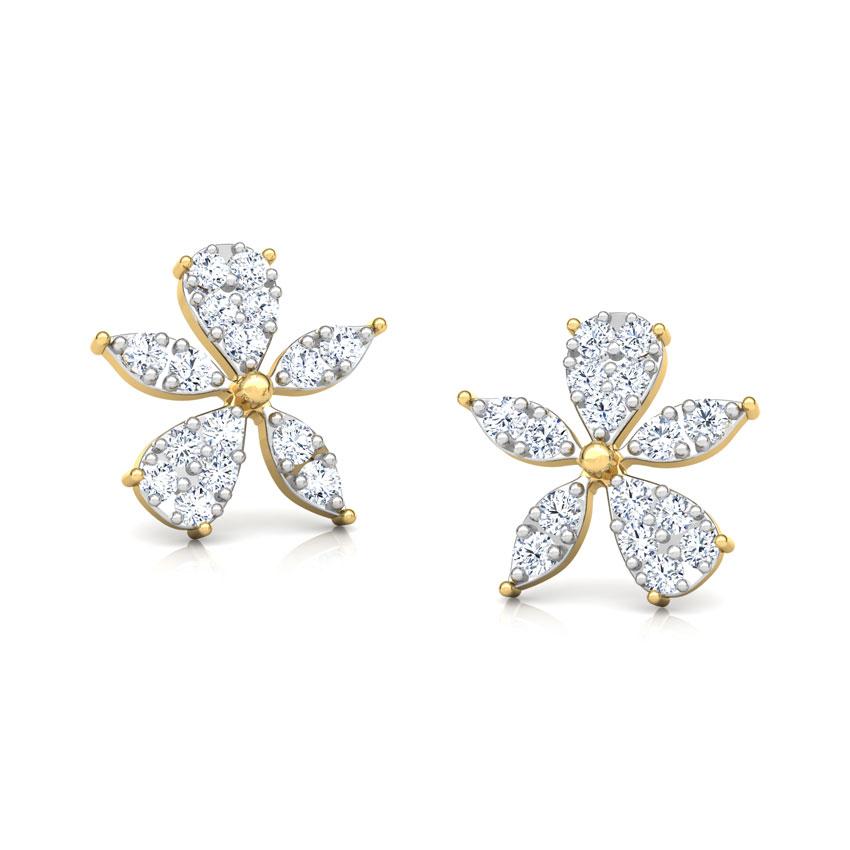 Diamond Earrings 18 Karat Yellow Gold Asymmetric Bloom Diamond Stud Earrings