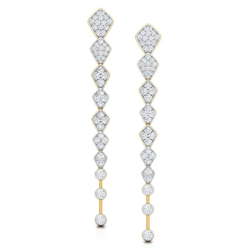 Diamond Earrings 14 Karat Yellow Gold Marquise Journey Diamond Drop Earrings