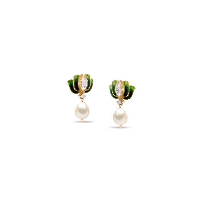 Diamond,Gemstone Earrings 18 Karat Yellow Gold Petite Lotus Gemstone Drop Earrings
