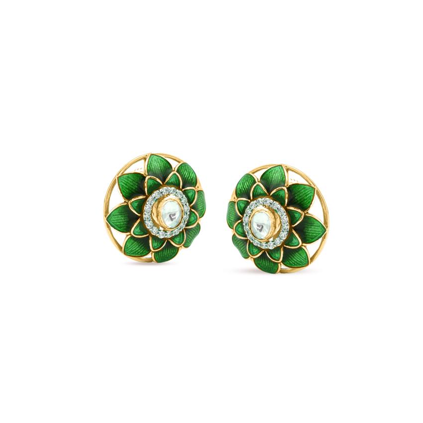 Diamond,Gemstone Earrings 18 Karat Yellow Gold Verdant Bloom Gemstone Stud Earrings
