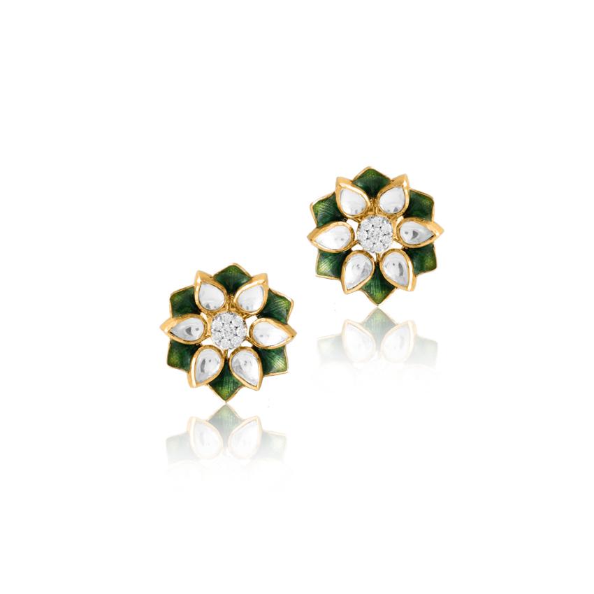 Diamond,Gemstone Earrings 18 Karat Yellow Gold Pretty Floral Stud Earrings