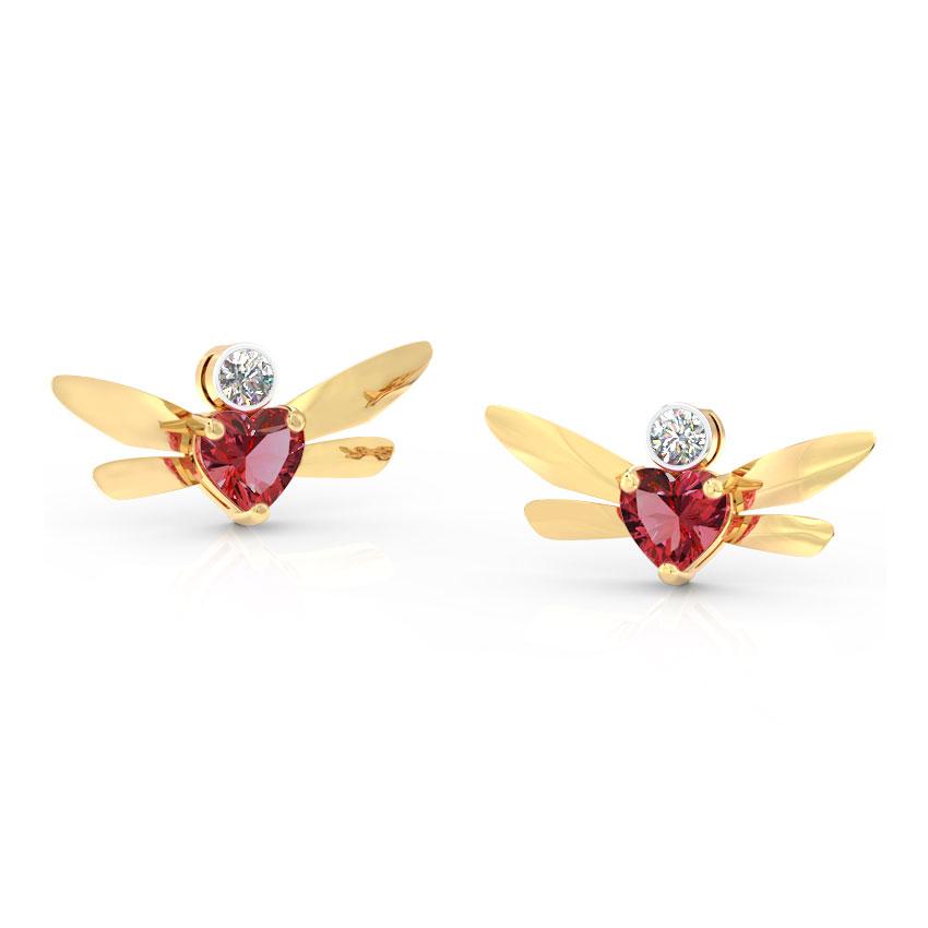 Diamond,Gemstone Earrings 14 Karat Yellow Gold Hover Dragonfly Gemstone Stud Earrings