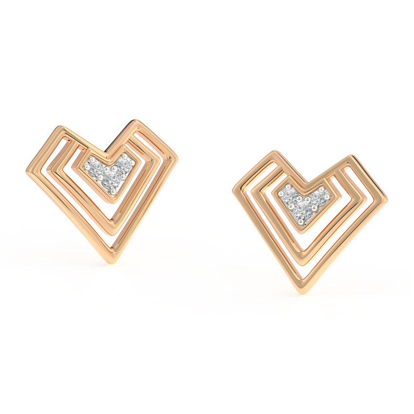 Edgy Heart Stud Earrings