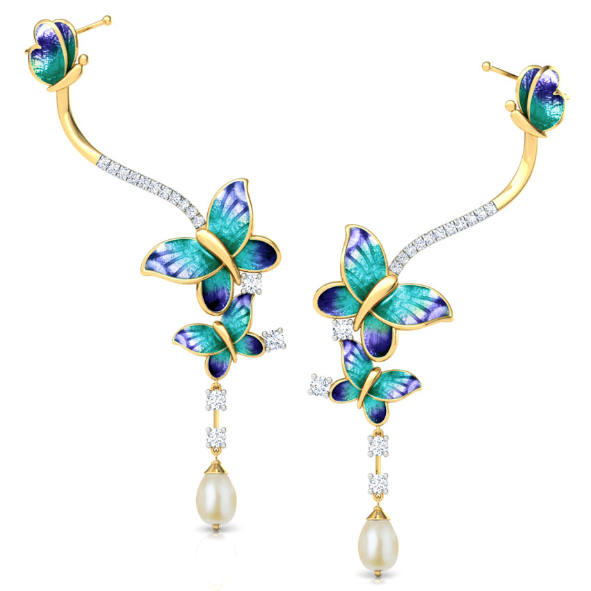 Intricate Blue Butterfly Drop Earrings