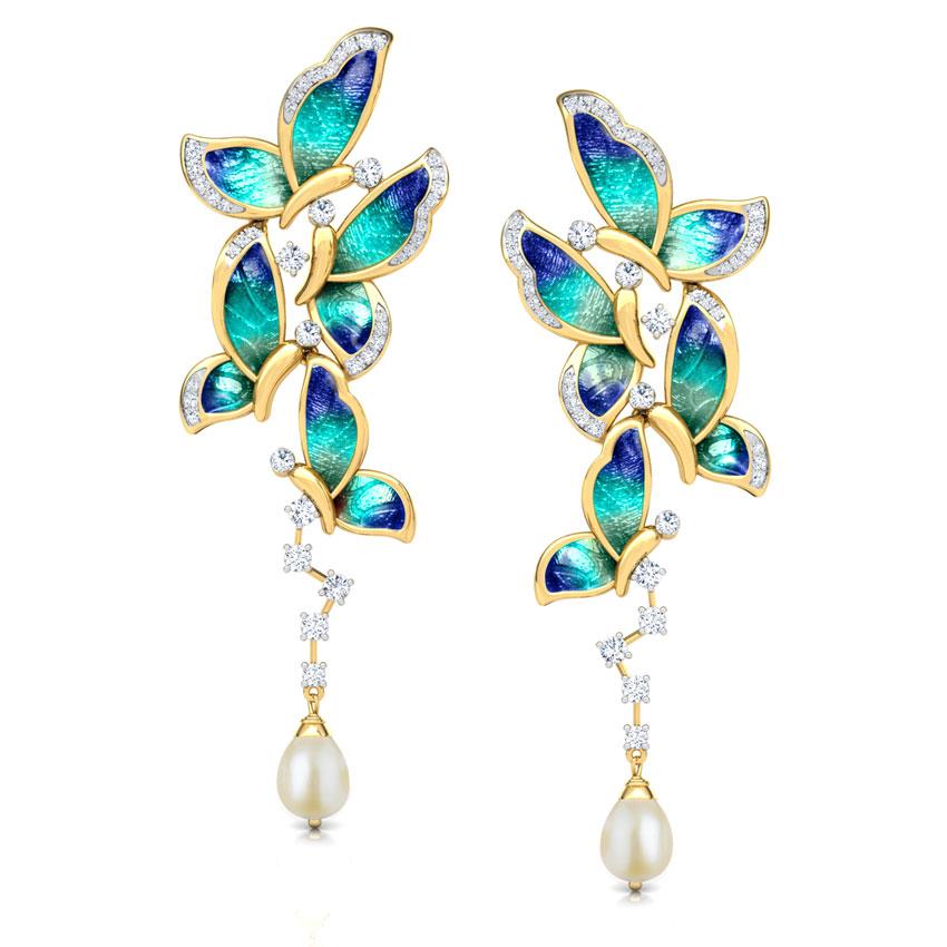 Diamond,Gemstone Earrings 18 Karat Yellow Gold Blue Butterfly Gemstone Drop Earrings