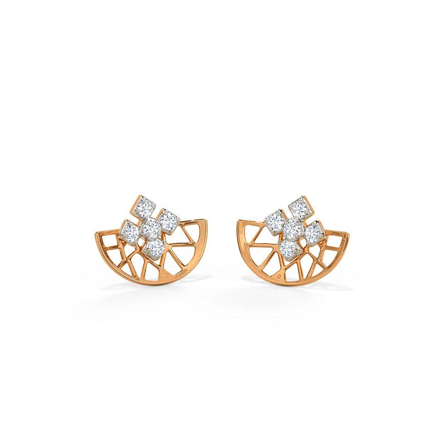 Diamond Earrings 14 Karat Rose Gold Arc Geometric Diamond Stud Earrings