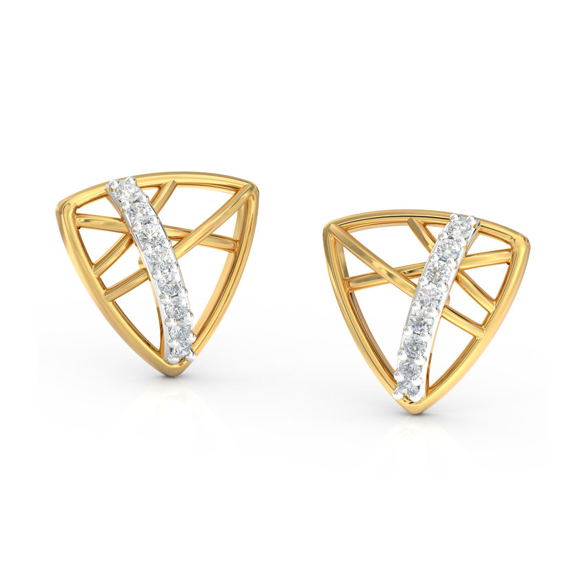 Diamond Earrings 14 Karat Yellow Gold Trigonal Diamond Stud Earrings