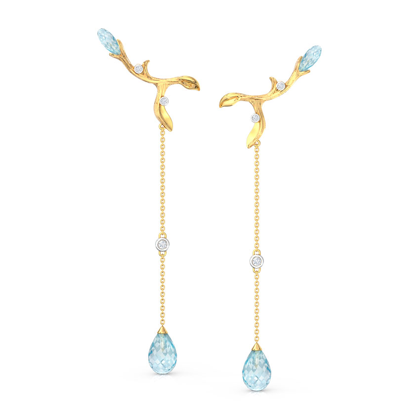 Branched Dewdrops Drop Earrings