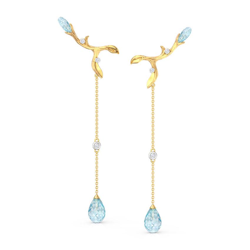 Diamond,Gemstone Earrings 14 Karat Yellow Gold Branched Dewdrops Gemstone Drop Earrings