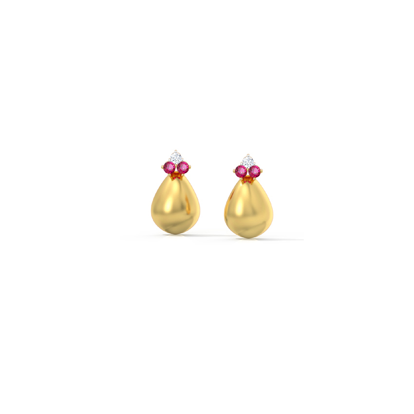 Diamond,Gemstone Earrings 18 Karat Yellow Gold Dainty Pear Gemstone Stud Earrings