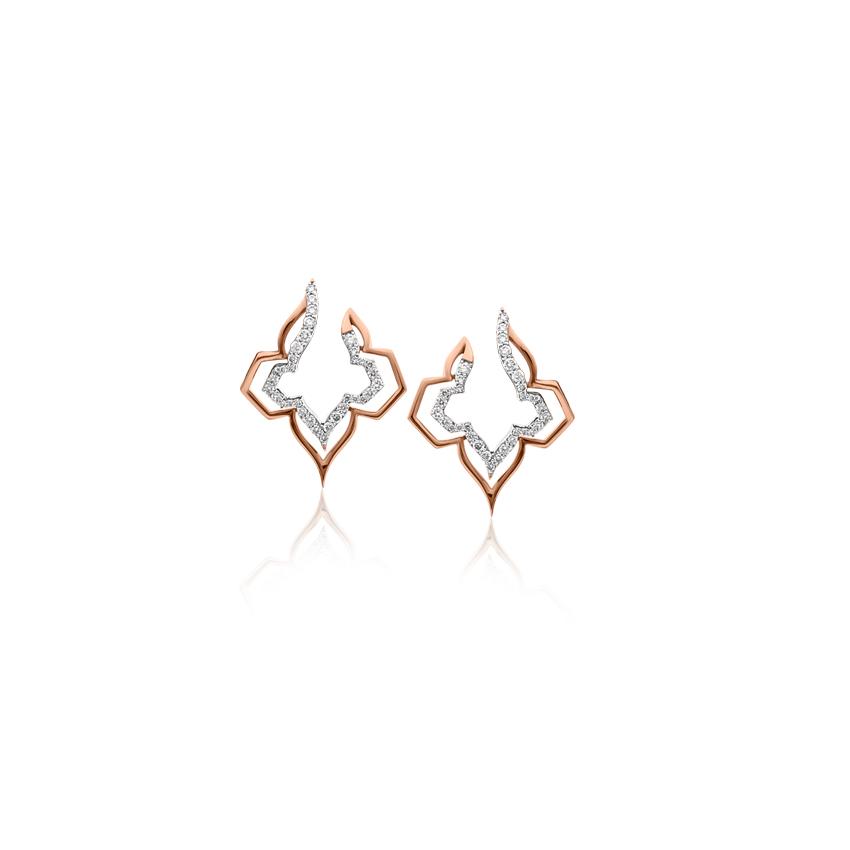Diamond Earrings 18 Karat Rose Gold Ellenor Glamorous Diamond Hoop Earrings